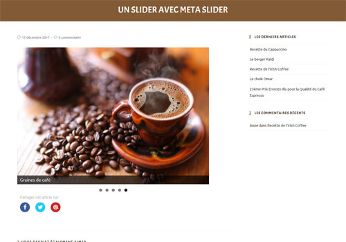 Capture d'écran du slider du site.